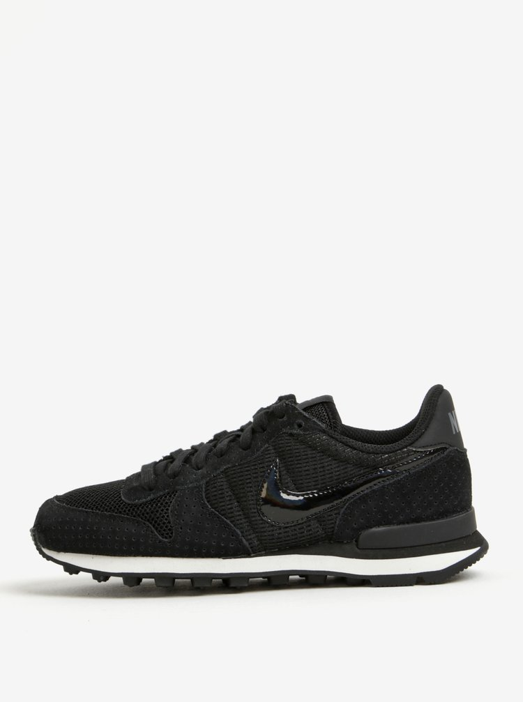 Pantofi sport negri cu detalii din piele intoarsa pentru femei Nike Internationalist