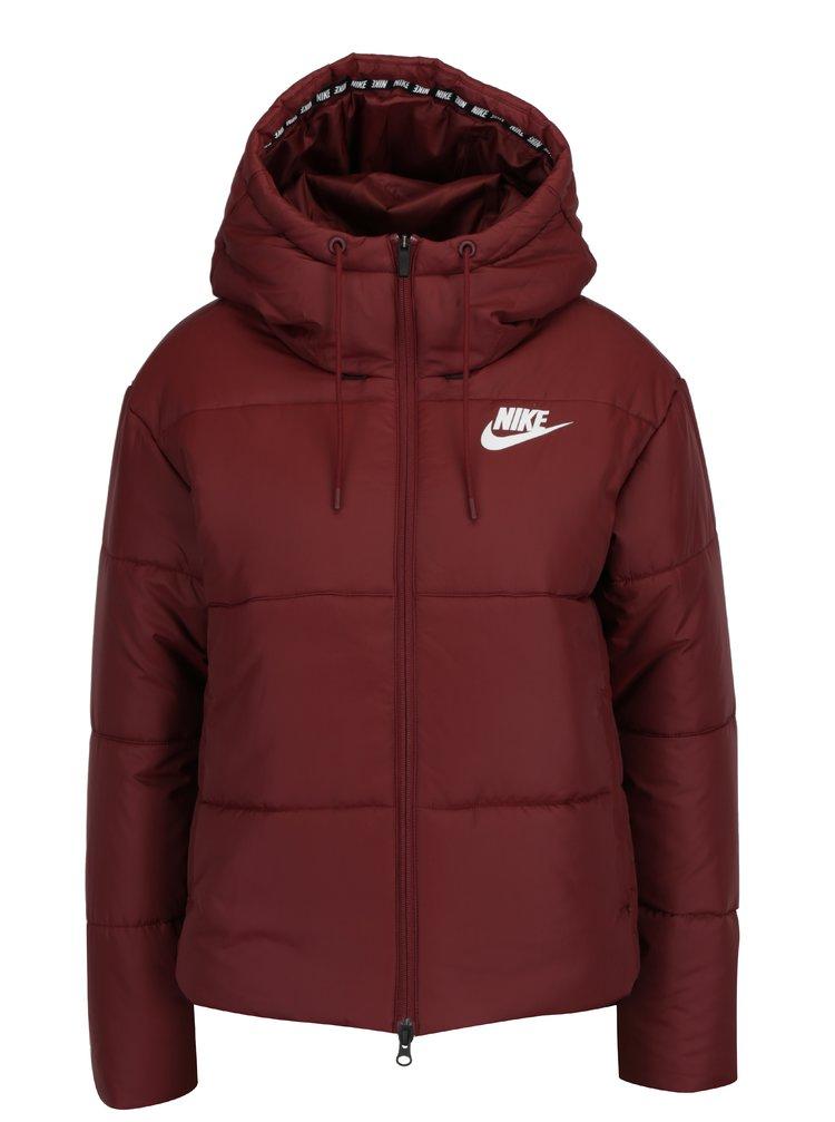 Vínová dámská zimní  voděodpudivá prošívaná bunda s kapucí Nike Sportswear Fill