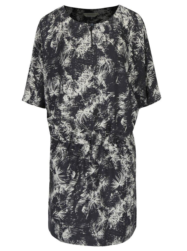 Tmavě šedé vzorované šaty s netopýřími rukávy Skunkfunk