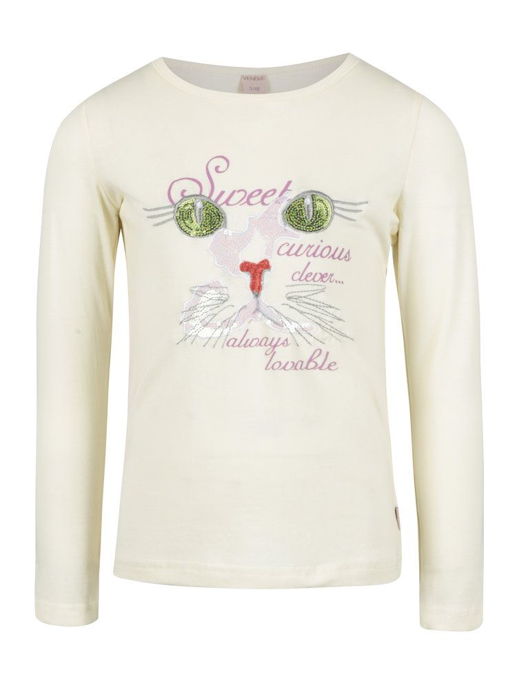 Krémové holčičí tričko s flitry Venere