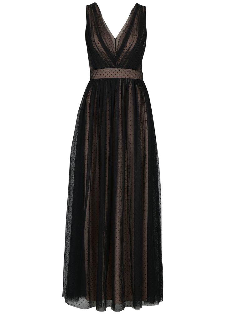 ... Krémovo-čierne dlhé bodkované šaty Little Mistress 414480885ee
