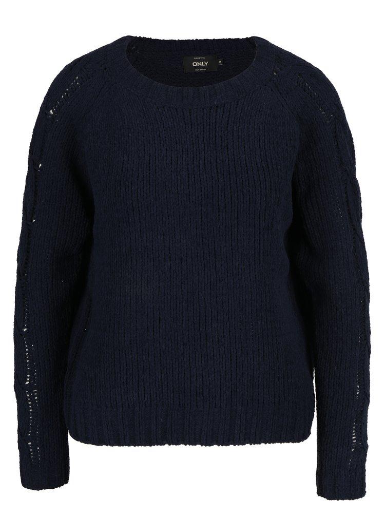 Pulover bleumarin tricotat cu torsade pe maneci - ONLY Ivy