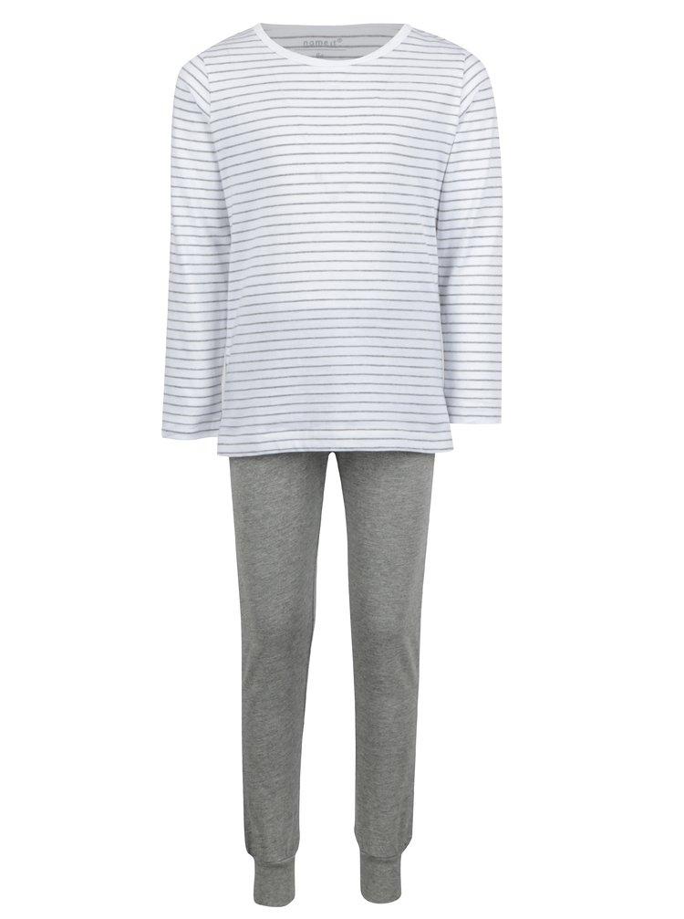 Sivo–biele dievčenské dvojdielne pyžamo name it Night