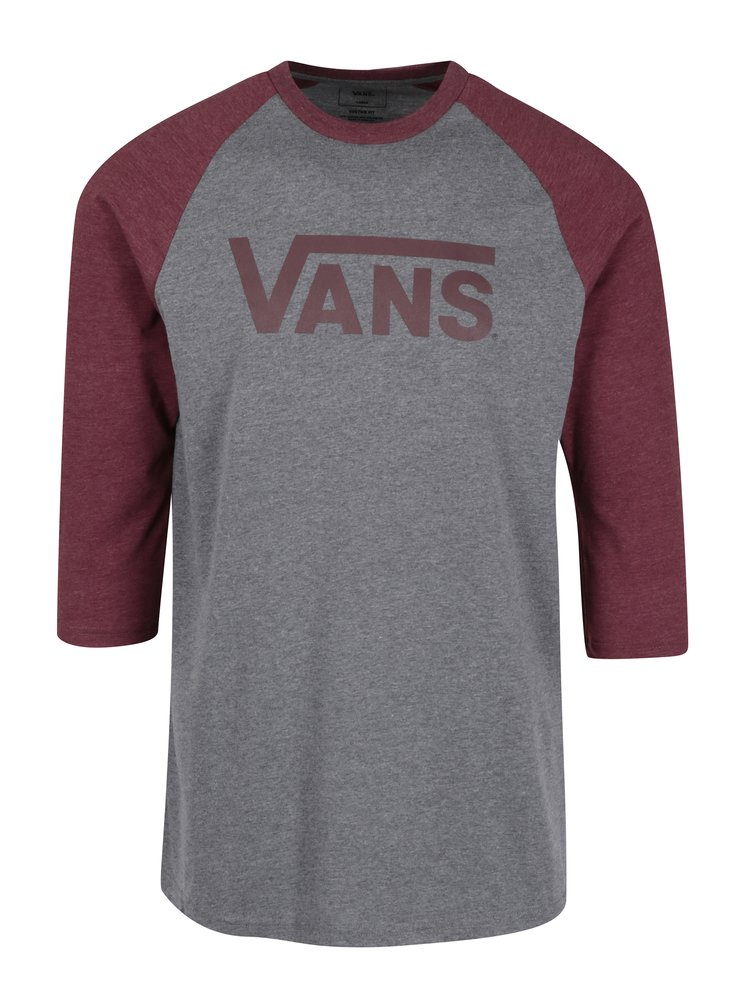 Bluza gri&bordo cu maneci 3/4 si print VANS Classic