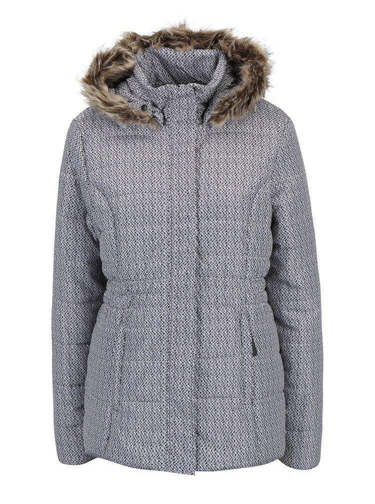 Černo-krémová dámská zimní voděodolná prošívaná bunda s kapucí LOAP Tamda