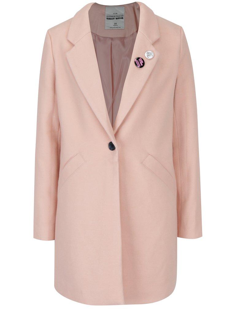 Svetloružový kabát s vreckami TALLY WEiJL