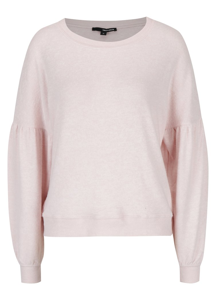 Světle růžový žíhaný volný svetr s netopýřími rukávy TALLY WEiJL