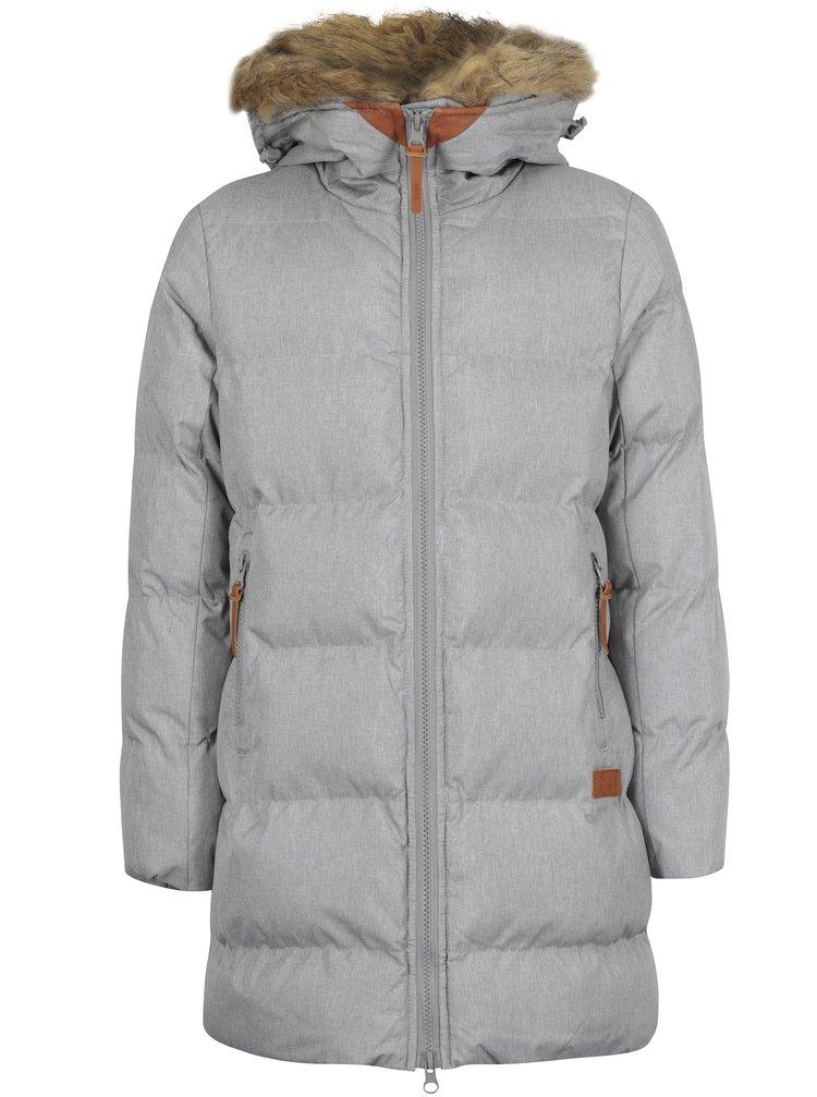 Šedý holčičí prošívaný žíhaný zimní kabát s umělým kožíškem 5.10.15.