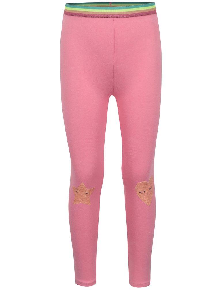 Růžové holčičí legíny s potiskem a barevnou gumou v pase 5.10.15.