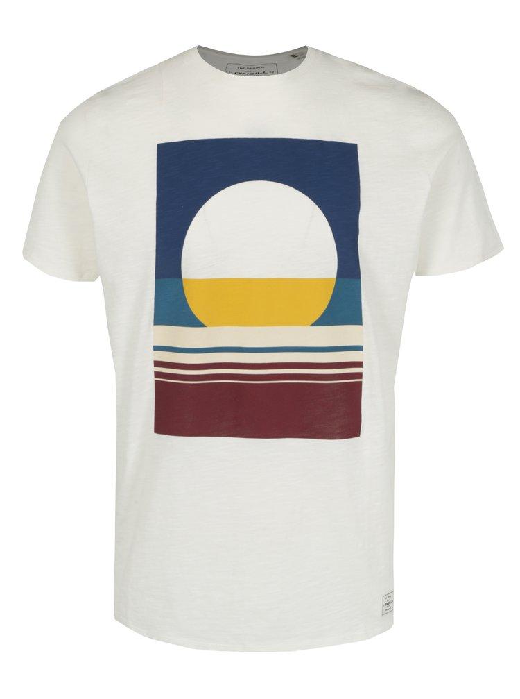 Tricou slim fit crem cu print geometric O'Neill