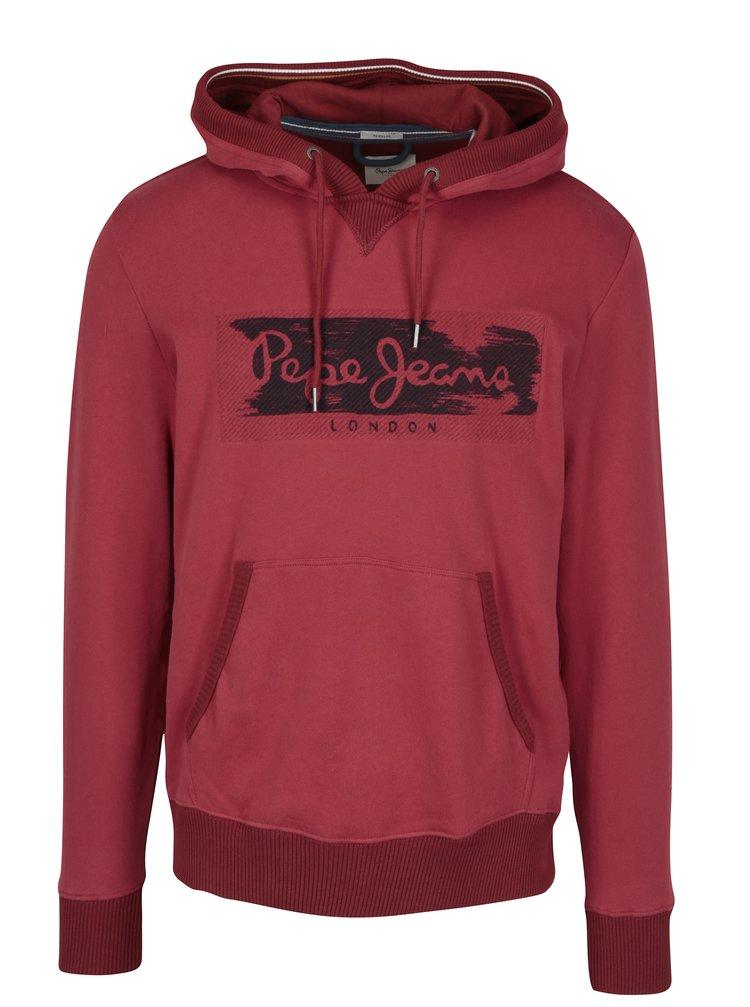 Hanorac rosu&negru cu print logo pentru femei Pepe Jeans WOODWARD