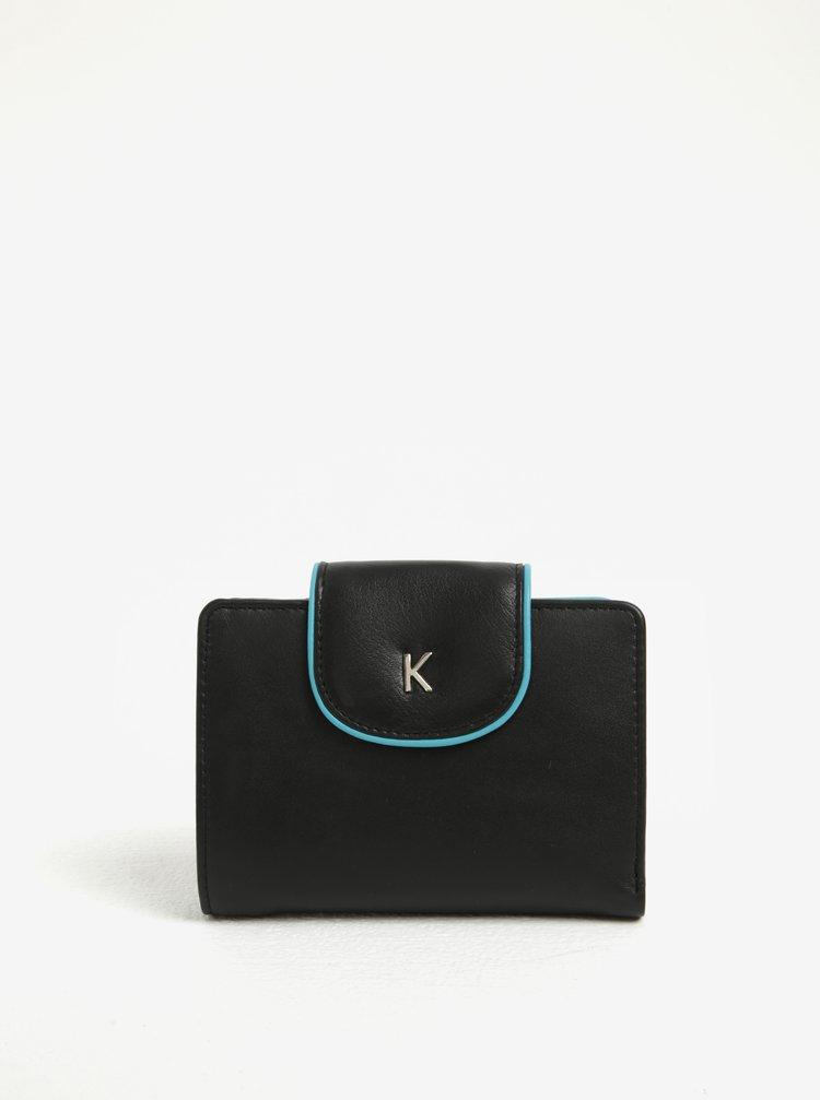 Portofel negru din piele naturala cu interior albastru pentru femei  -