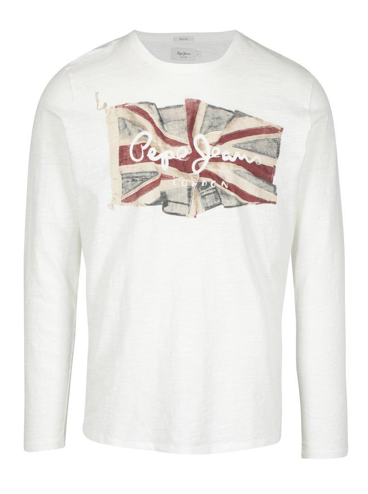 Krémové pánské slim tričko s dlouhým rukávem Pepe Jeans FLAG TEE