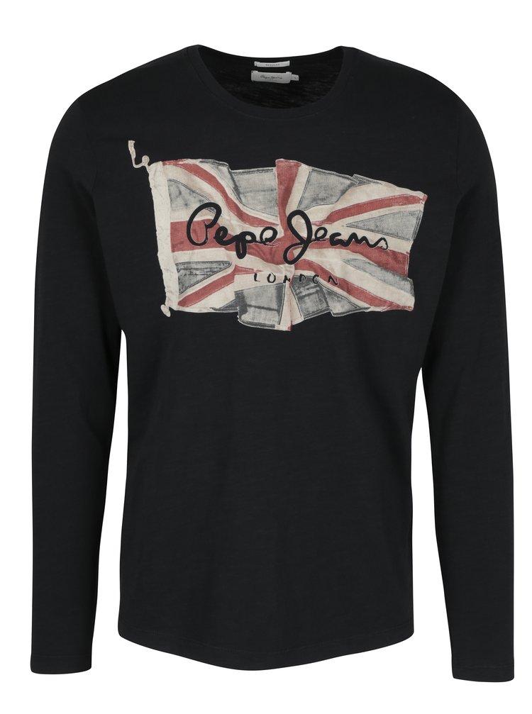 Černé pánské regular tričko s dlouhým rukávem Pepe Jeans FLAG TEE