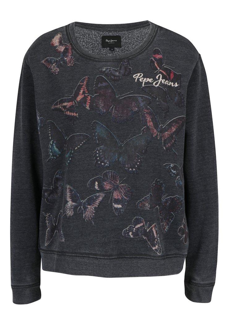 Bluza gri inchis cu print logo si fluturi pentru femei Pepe Jeans FLOR