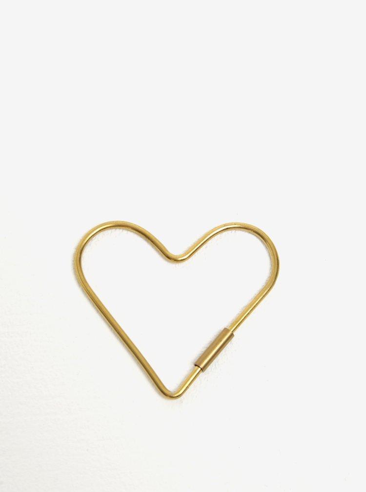 Breloc metalic auriu in forma de inima Donkey Hello Love