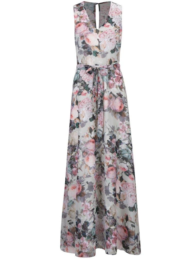 Krémové květované maxi šaty bez rukávů Dorothy Perkins