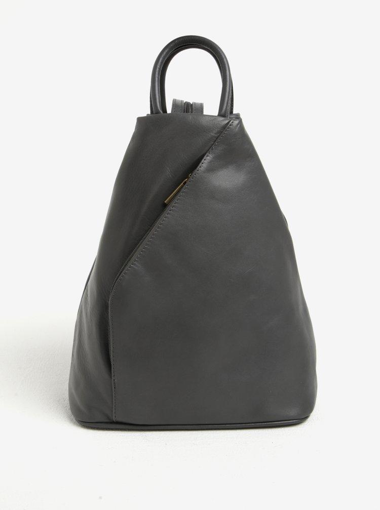 Šedý dámský kožený batoh KARA