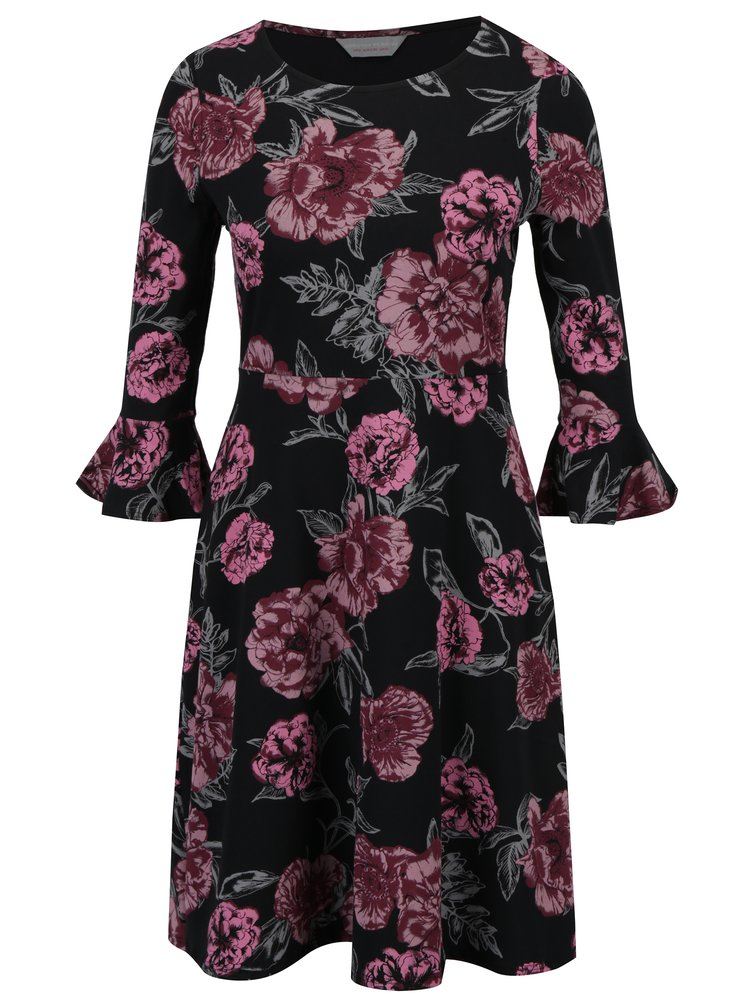Černé květované šaty se zvonovými rukávy Dorothy Perkins Petite