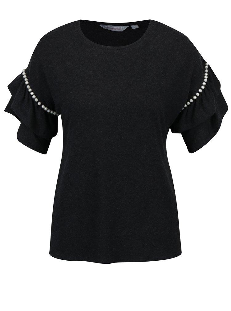 Šedé tričko s volány a korálky na rukávech Dorothy Perkins Petite