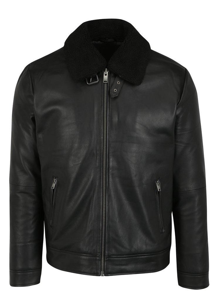 Černá kožená bunda s odepínatelným límcem Selected Homme Teddy