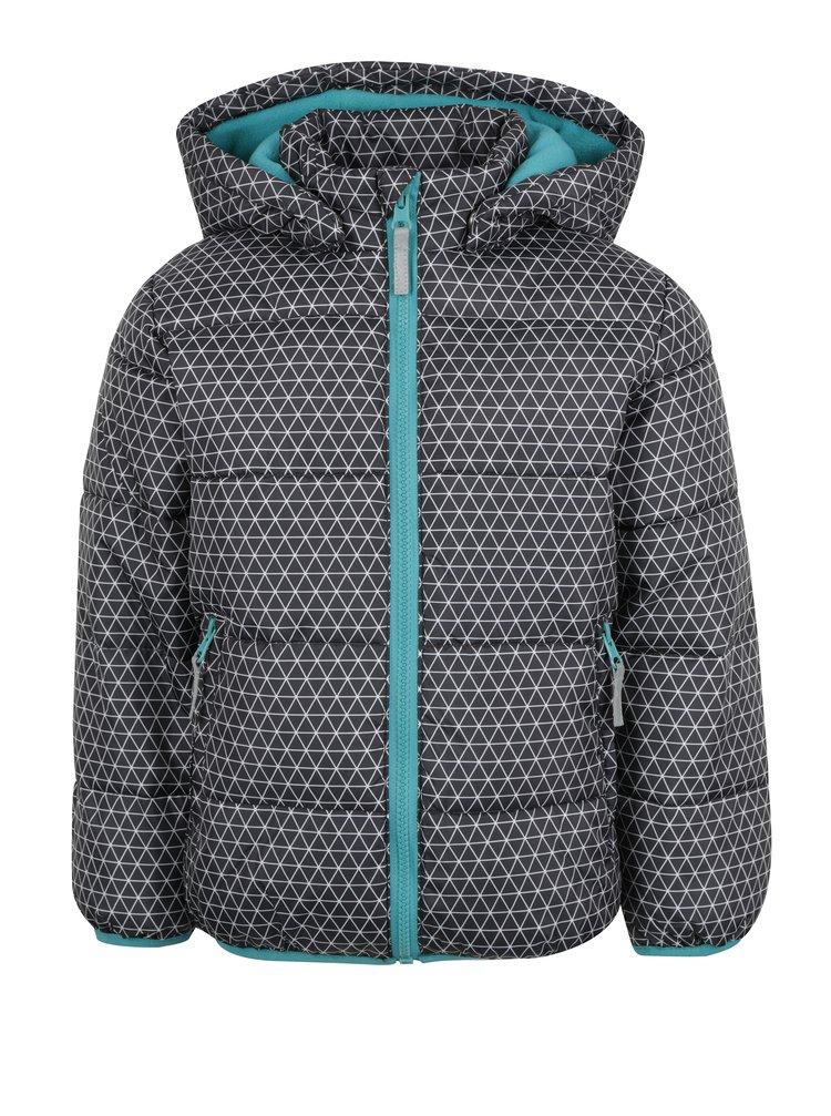 Tmavě šedá klučičí zimní prošívaná bunda s kapucí Blue Seven