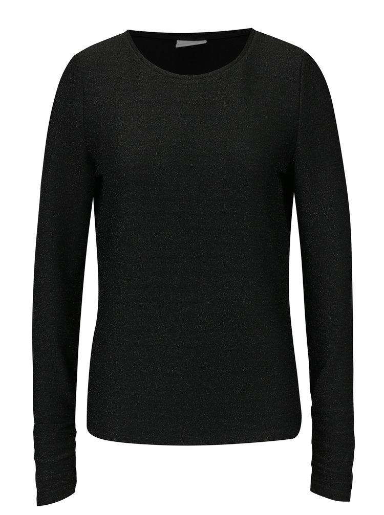 Černé třpytivé tričko s dlouhým rukávem VILA Clima