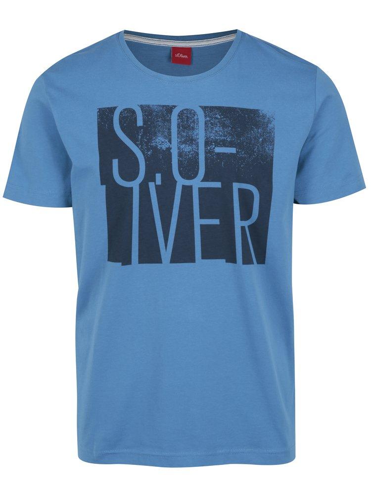 Tricou albastru regular fit cu print pentru barbati s.Oliver