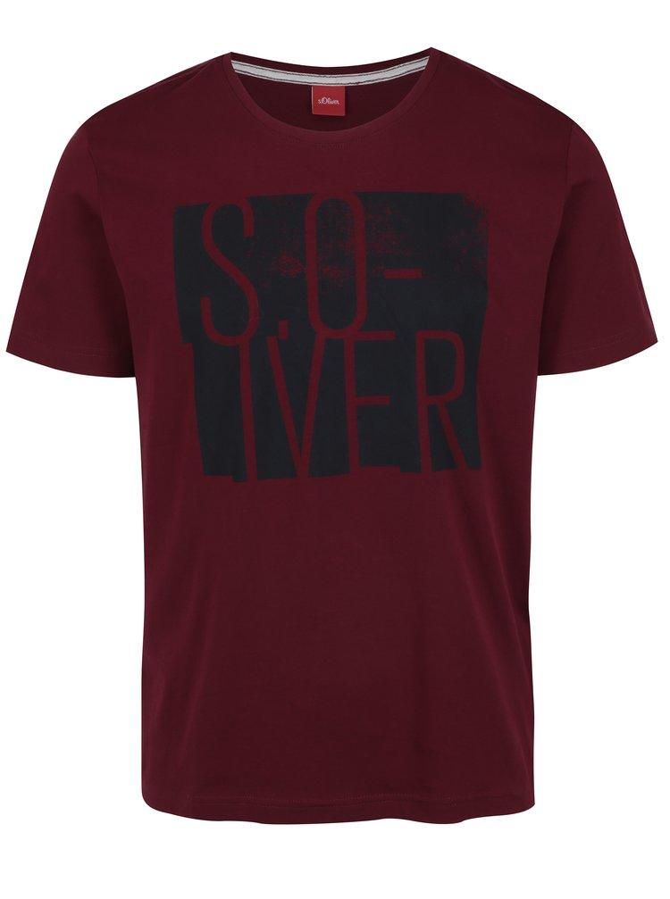 Vínové pánské regular fit tričko s potiskem s.Oliver