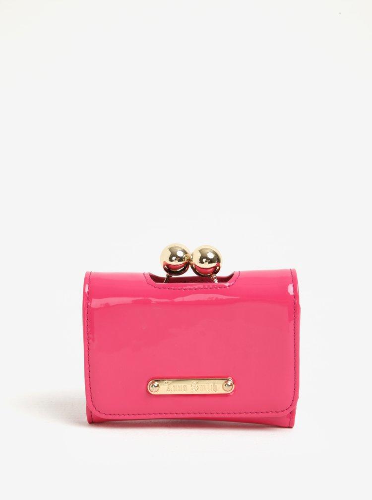 Portofel roz cu aspect lucios si inchidere retro - Anna Smith