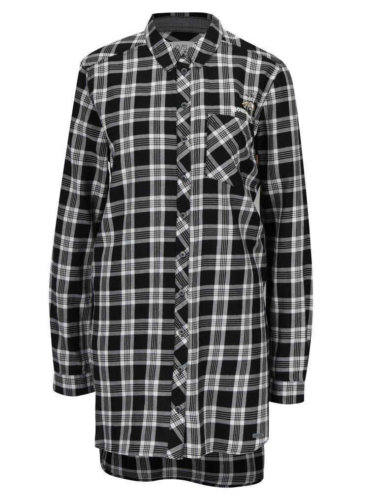 Bílo-černá dámská dlouhá kostkovaná košile s.Oliver