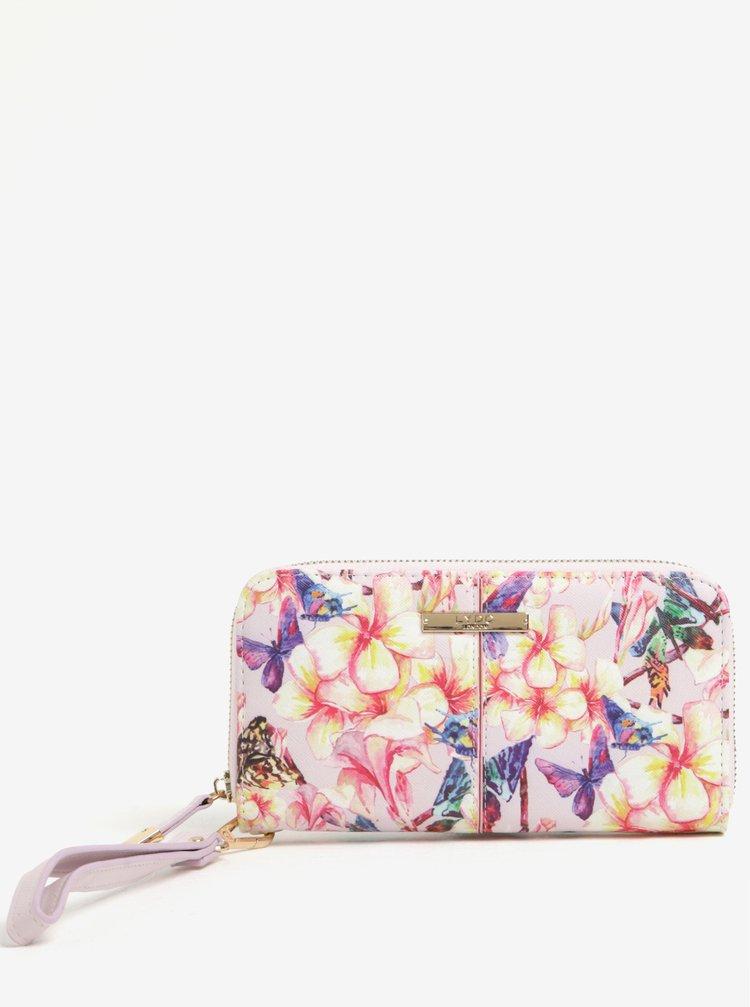 Růžová peněženka s květovaným potiskem LYDC