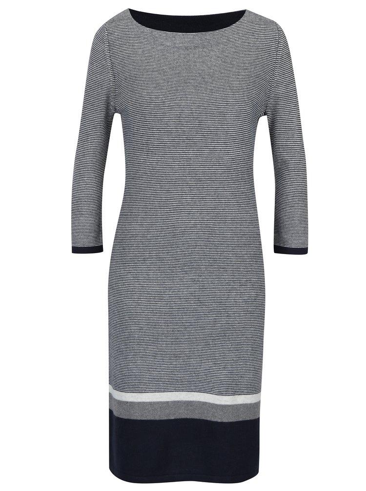 Bielo-modré svetrové pruhované šaty s 3/4 rukávom s.Oliver