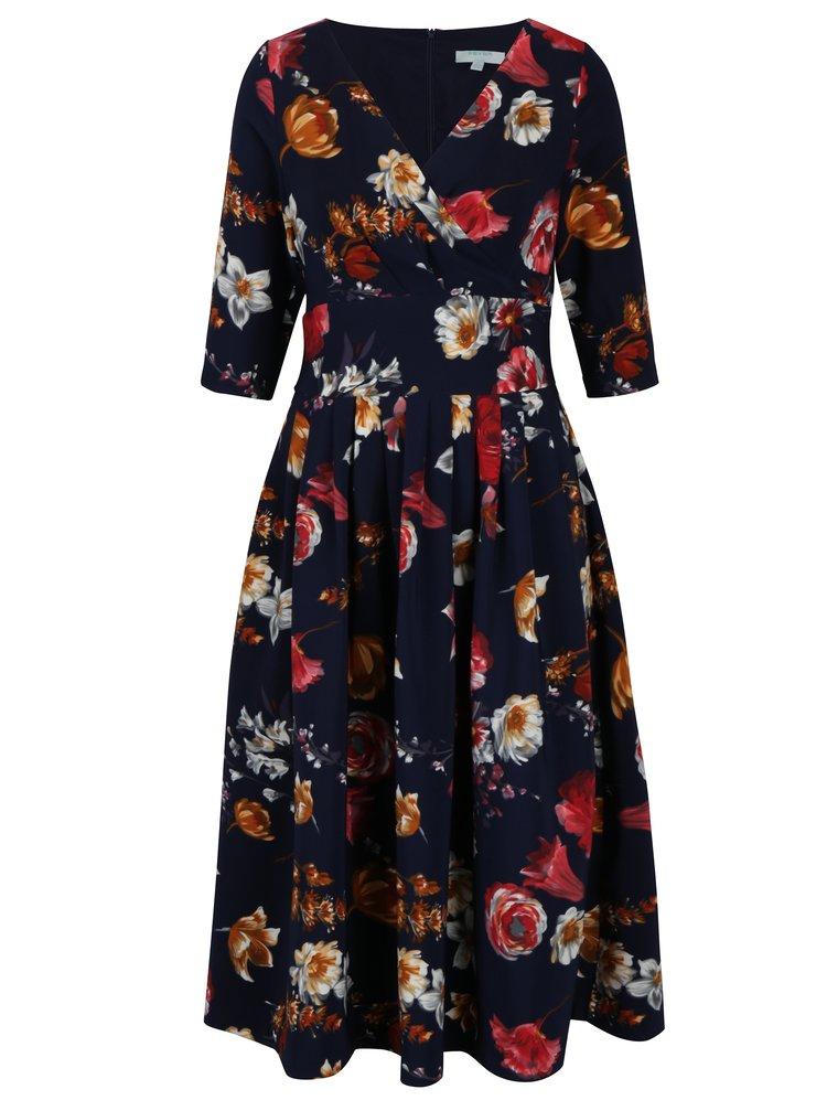 Tmavomodré kvetinové šaty s prekladaným výstrihom Fever London Elodie