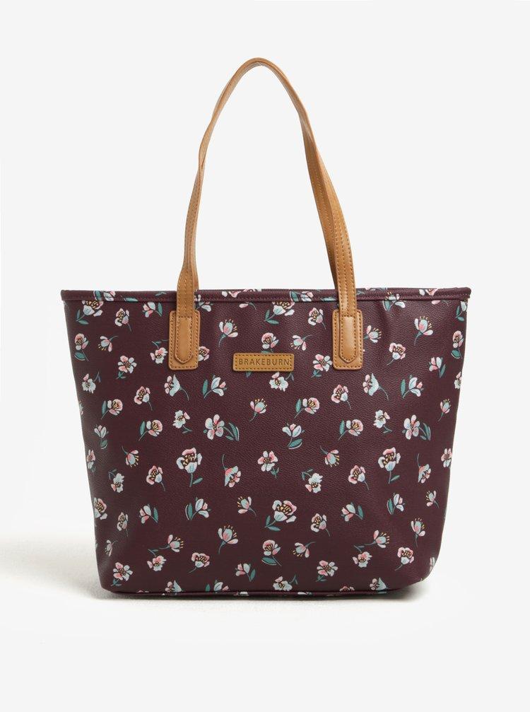 Geanta shopper bordo cu model floral Brakeburn