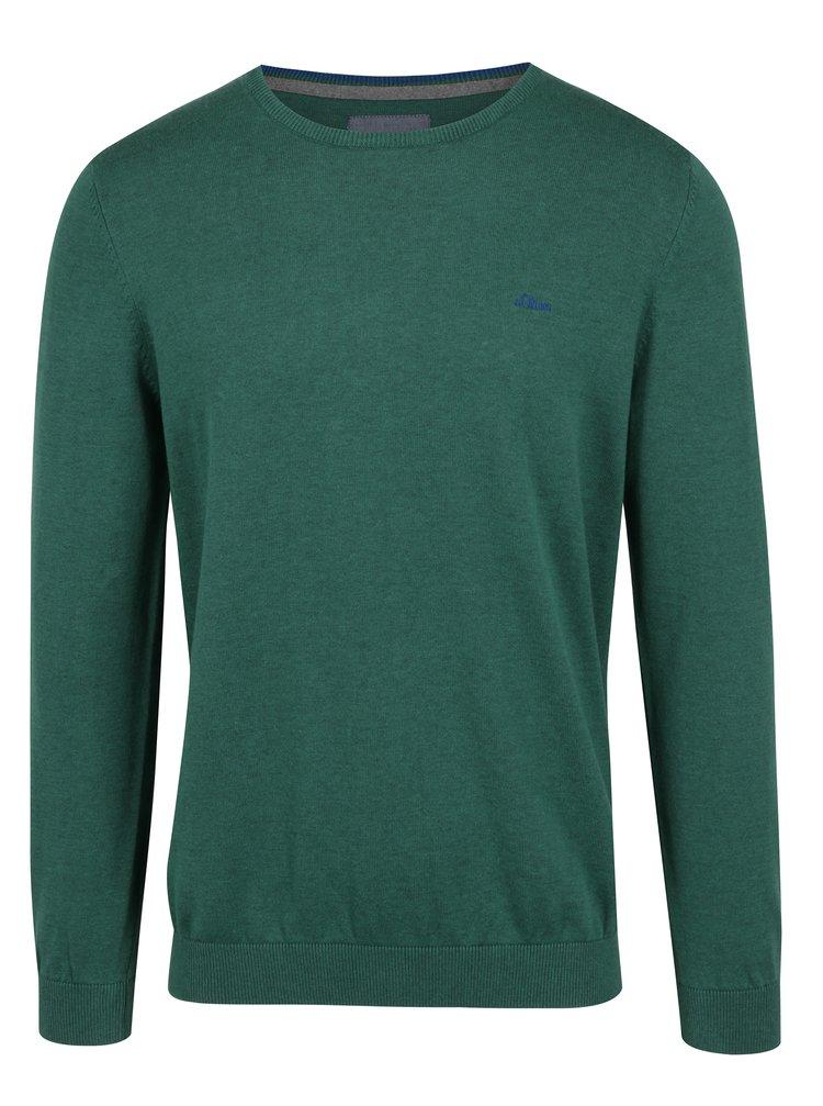Zelený pánský svetr s kulatým výstřihem s.Oliver