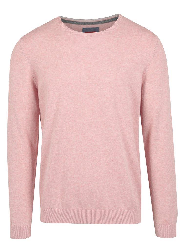 Světle růžový pánský svetr s kulatým výstřihem s.Oliver