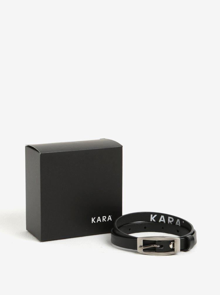 Černý dámský úzký kožený pásek KARA