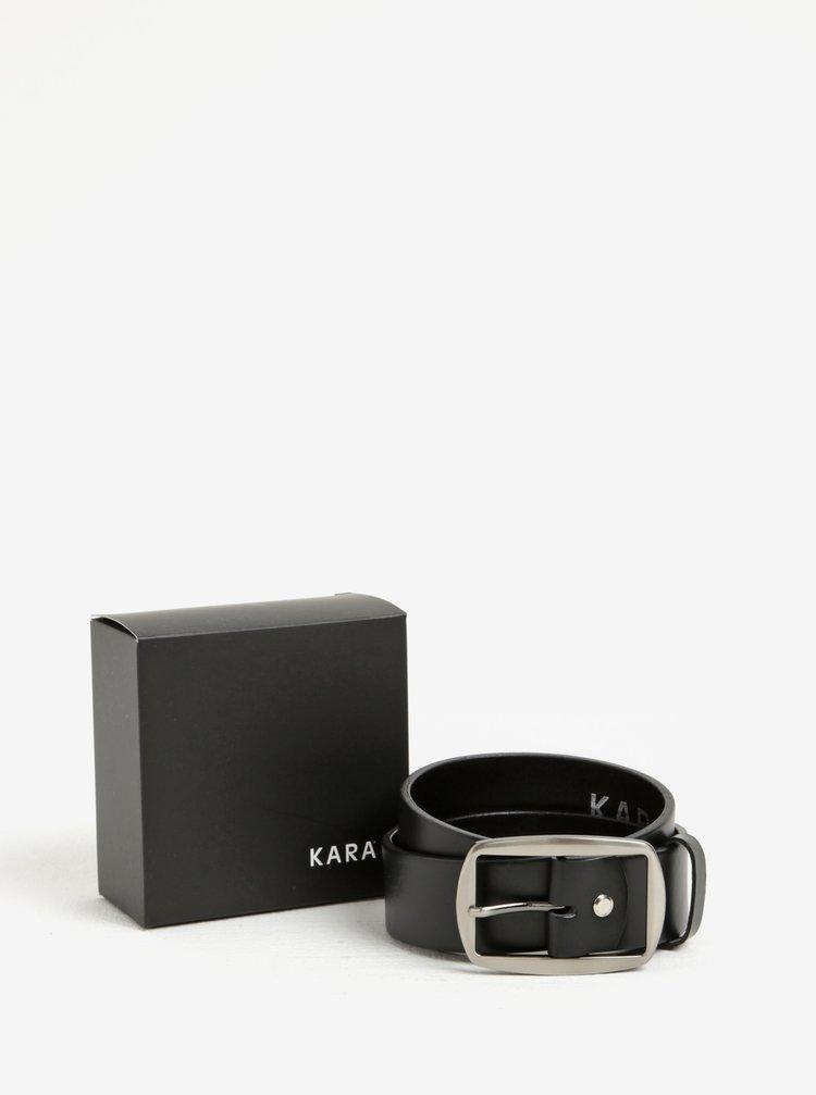 Curea neagra din piele naturala si catarama argintie pentru femei - KARA