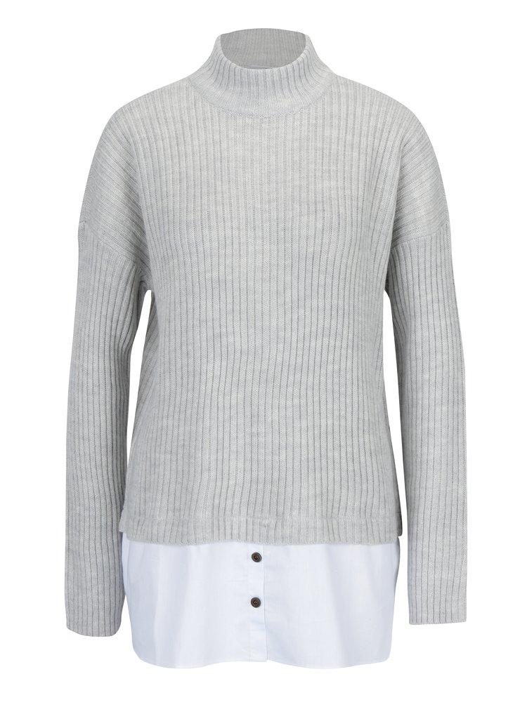 Svetlosivý sveter s prímesou vlny a všitým košeľovým dielom Noisy May Nami