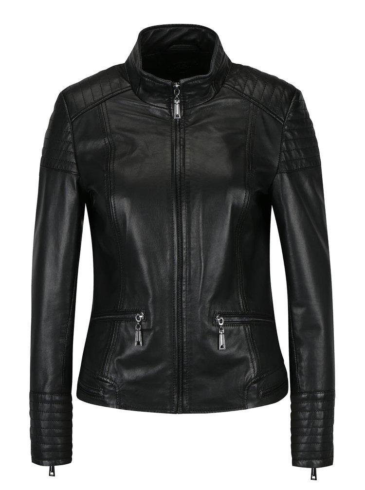 Jacheta neagra din piele naturala cu buzunare pentru femei - KARA Pavlina