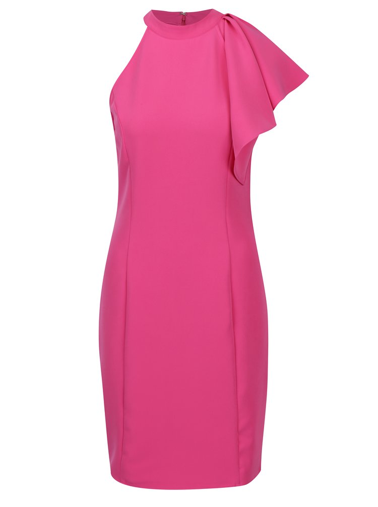 Růžové asymetrické šaty s volánem VERO MODA Jinks