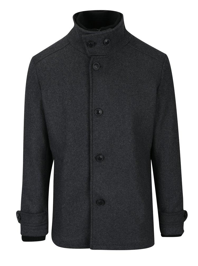 Palton scurt gri inchis de iarna din amestec de lana pentru barbati - Jack & Jones Joe