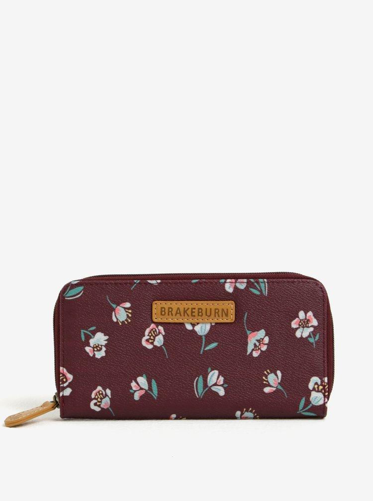 Portofel bordo cu print floral - Brakeburn