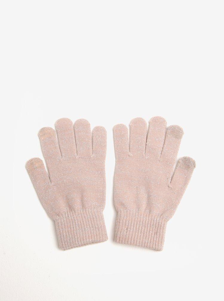 Světle růžové rukavice se vzorem ve stříbrné barvě Pieces Rubi