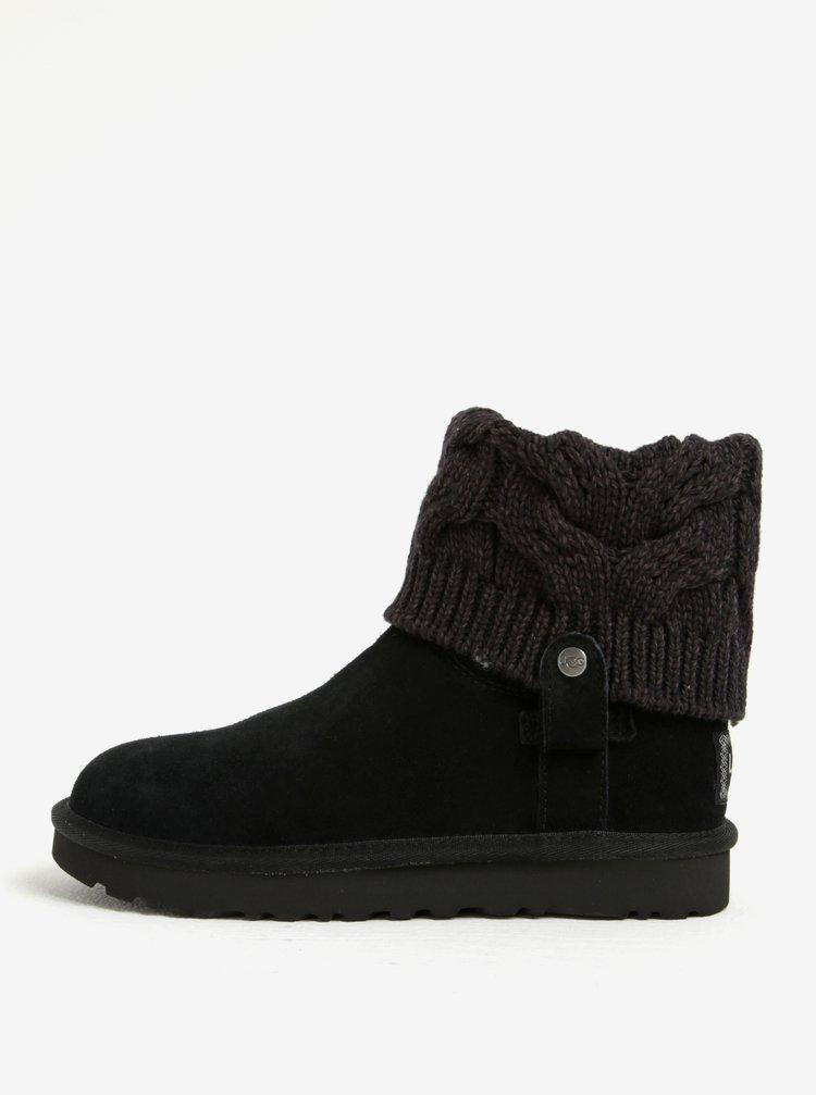 Černé zimní semišové voděodolné kotníkové boty UGG Saela