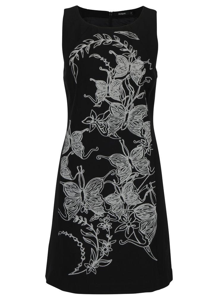 Černé šaty s výšivkou Desigual Rotterdam