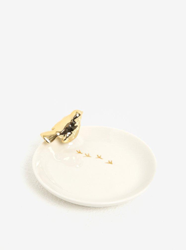 Suport cu decoratiune pasare aurie pentru depozitarea bijuteriilor - Sass & Belle Robin