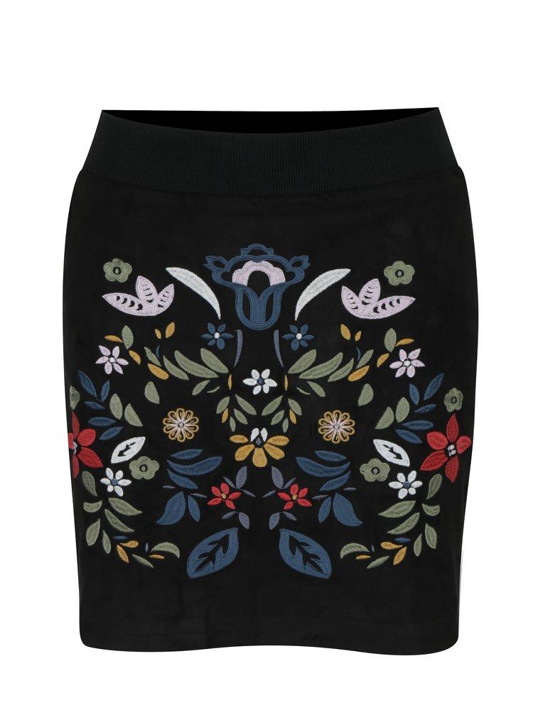 Fusta neagra mini cu broderie florala Desigual Ariadna