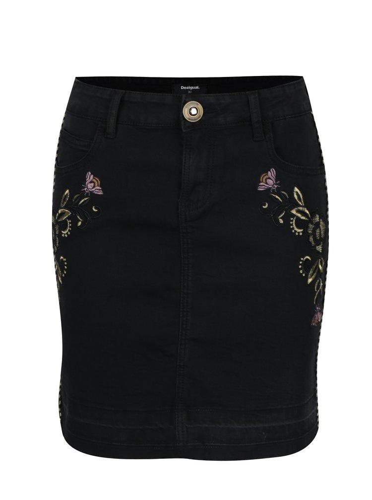 Černá džínová sukně s výšivkami Desigual Exo Red